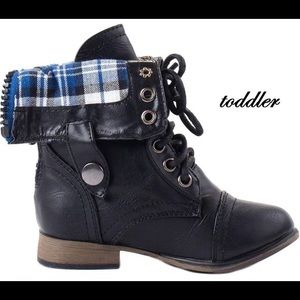 Black baby combat boot